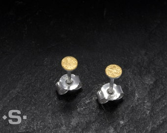 4 mm Circle Stud Earrings. 24k gold and sterling silver.