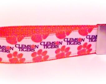 Clemson Tigers Key Fob / Key Chain / Key Holder / Wristlet / Tigers / Clemson University / Keychain / Orange and Purple / Paw Prints