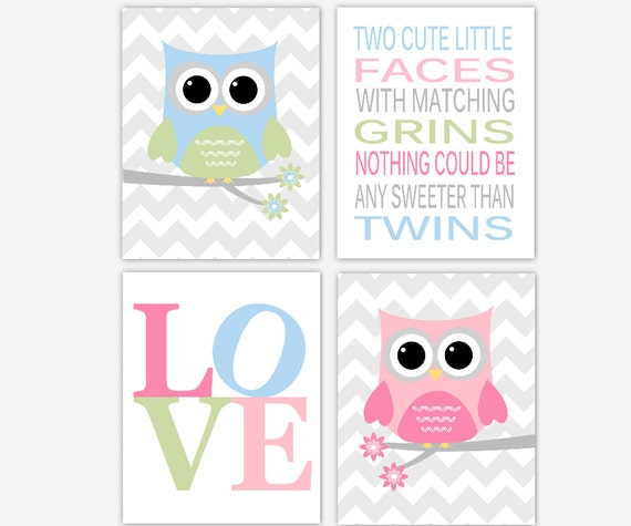 Elephant Twin Nursery Wall Art Nursery Room Decor For Twins: TWINS Baby Nursery Wall Art Baby Boy Baby Girl Owls Twin