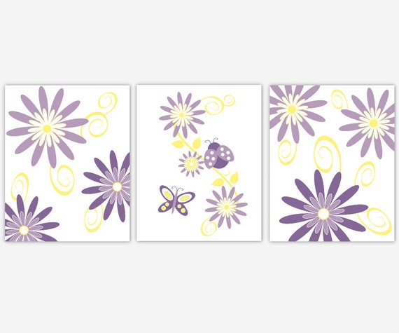 Yellow Flowers Wall Decor : Floral baby girl nursery wall art purple yellow flowers
