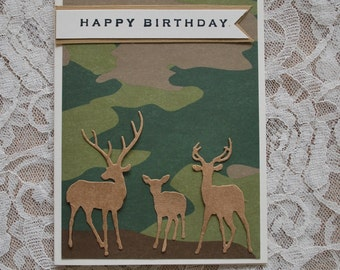 Hand Made Card: Masculine birthday, Camo card, camouflage, deer, stag, wildlife, nature, hunter, elk