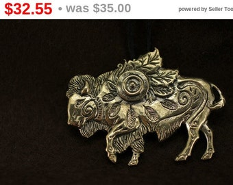 Discount! Buffalo Bison bronze pendant necklace
