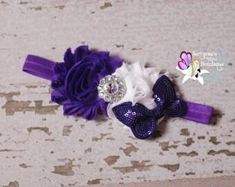 Purple White Shabby Flower Butterfly Rhinestone Headband. Baby Headband, Toddler Girl Headband, Butterfly Headband - SB-009BF
