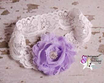 Lavender Shabby Flower Rhinestone Lace Headband - Baby Toddler Girl - SB-041a