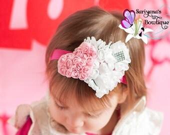 Pink Red White Heart Rhinestone Headband, Valentine's Headband, Sweetheart Headband, Baby Toddler Girl Woman - SB-093V