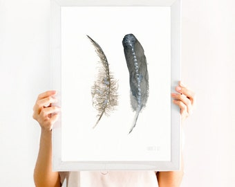 Feather wall art | 2 Feathers Print from original watercolor painting | wedding art | boho art | bride and groom art | His and hers wall art