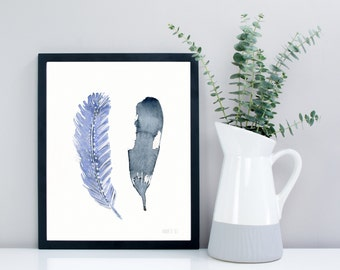 Feather artwork from original watercolor painting by Annemette Klit | Bird feather art print hand painted | Boho art | 2 Blue feather giclee