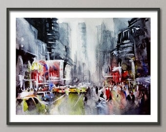 New york painting - Contemporary painting - Watercolor and acrylic painting - Giclee print - New York art - Contemporary canvas