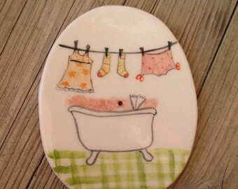 Cute Girly Ceramic Soap Dish,Illustrated Pottery Soap dish,Soap Holder,Clothesline,Hand painted,Bath tub,Laundry hanging on rope,Soap Bowl