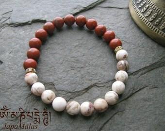 Red Jasper and Crazy lace Agate bead Bracelet Mala Wrist Mala Healing Bracelet