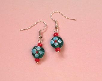 Blue Red Flower Earrings