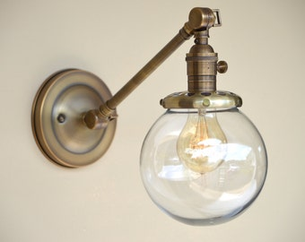 Sconce Lighting with Glass Globe shade Adjustable Arm Fixture