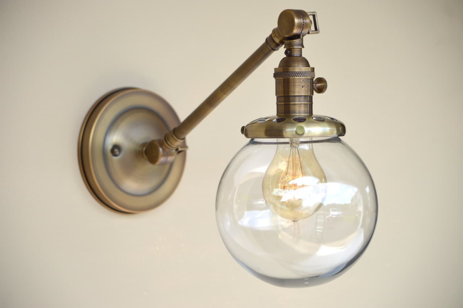 Bistro Globe Bath Sconce 4 Light: Sconce Lighting With Glass Globe Shade Adjustable Arm Fixture
