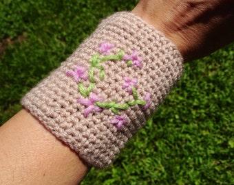 Acryllic Crochet Wrist Warmers Cuff Bracelet Sakura blossoms