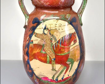 Louis Desmant French A&C Studio Art Pottery Lustre Bayeux Tapestry Vase