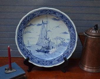 Boch Delft Plate Blue and White Delft Ceramic Plate Windmill Blue and White Delft Display Plate I Ship Globally