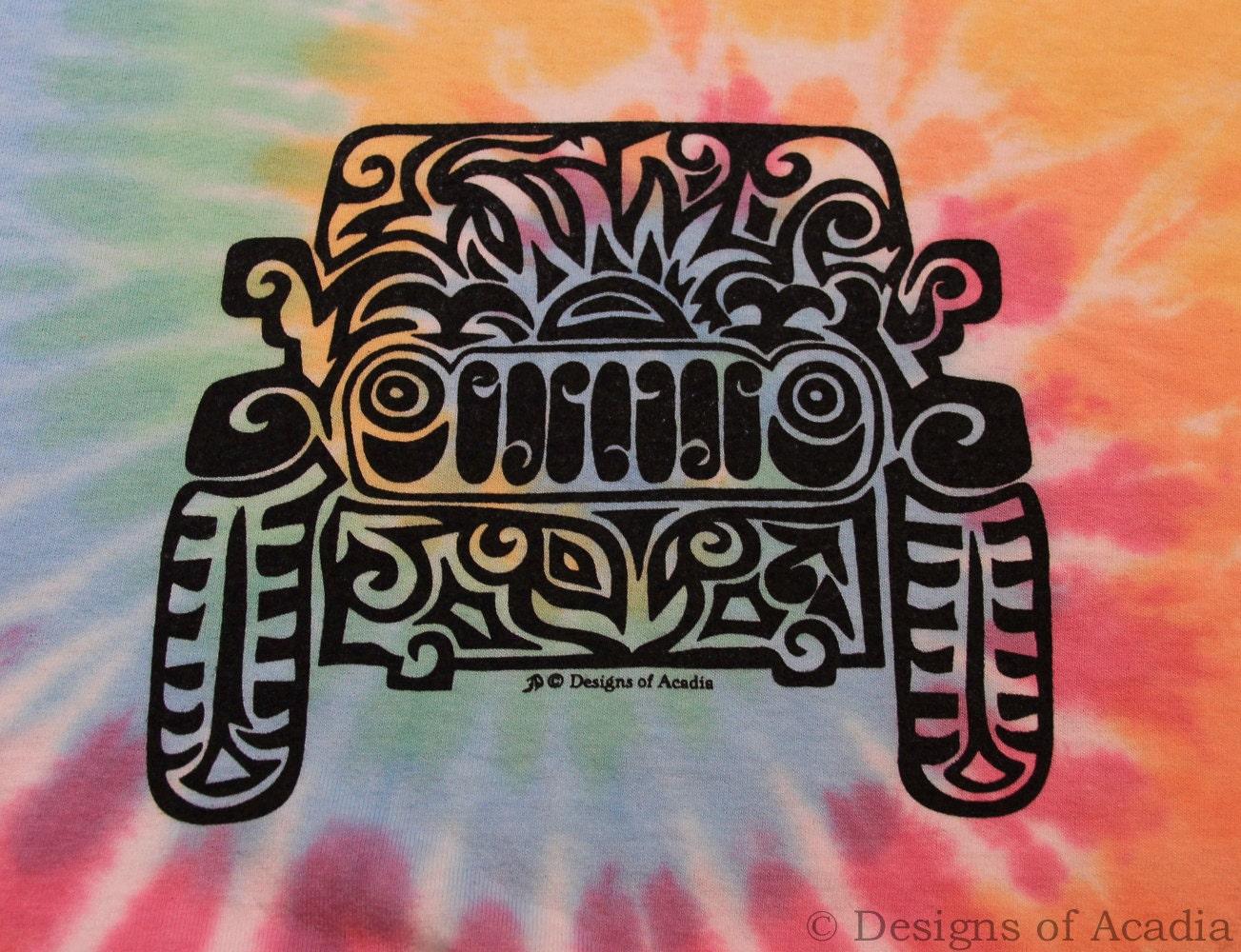 jeep tribal tattoo pastel rainbow tie dye ladies v neck t shirt s xl. Black Bedroom Furniture Sets. Home Design Ideas