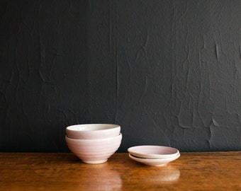 Pink Bowls and Saucers