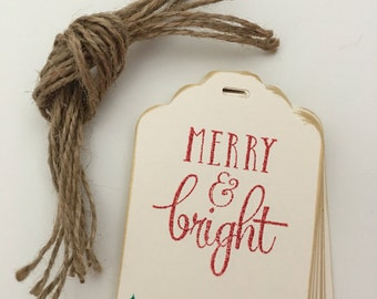 Set of 12 Merry & Bright Christmas Gift Tags