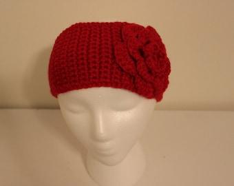 Red Crochet Headwrap with Flower, Earwarmer, Gift Idea for Her