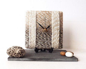 Beige Desk Clock - Wool Clock - Small Wall Clock Beige Cream Brown Yarn - Marbled Beige Wool - Square Desk Clock