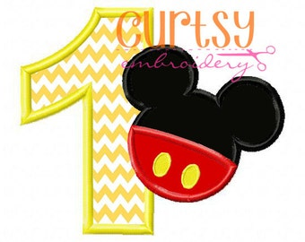Mickey Birthday Embroidery Design, Mouse Birthday Embroidery Design, First Birthday Applique Design, First Birthday Mouse Embroidery Design