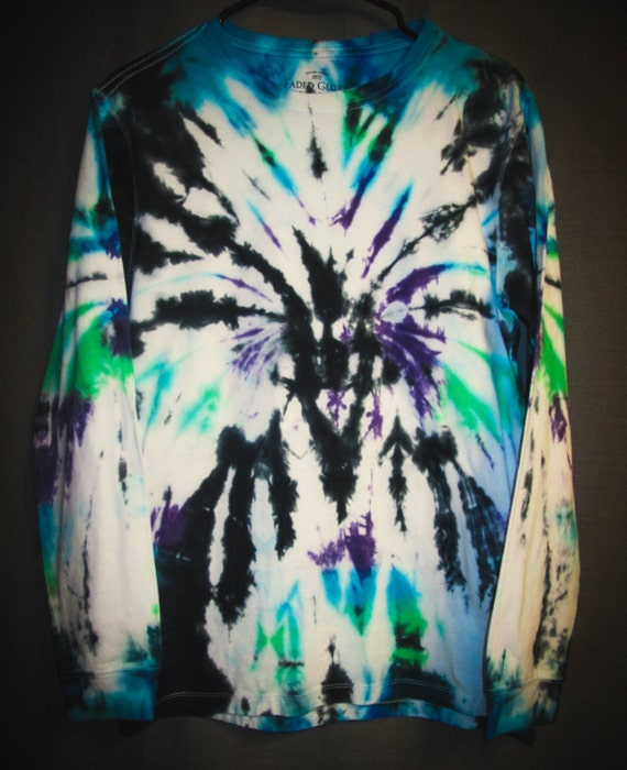Tie Dye Shirt/Adult T-Shirt/Long Sleeve/Black, Purple, Green & Blue Abstract/Eco-Friendly Dyeing