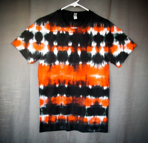 Tie Dye Shirt/Adult T-Shirt/Short Sleeve/Orange & Black/Eco-Friendly Dying