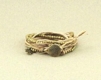 Wrap bracelet beige/camel cords, button and charm Bohemian style