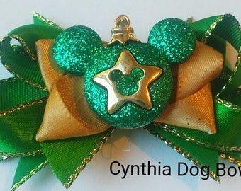 """Christmas Dog Bow- Mickey Mouse """"Star"""" in  Green and Red"""