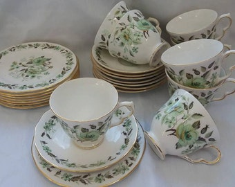 Colclough vintage bone china 'Camberley' cups, saucer, teaplates