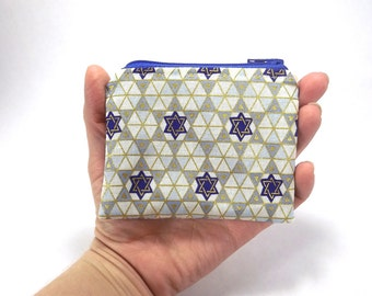 Star of David zipper pouch, blue gold silver, Hanukkah bag, Jewish wallet, change purse, coin pouch, Chanukah