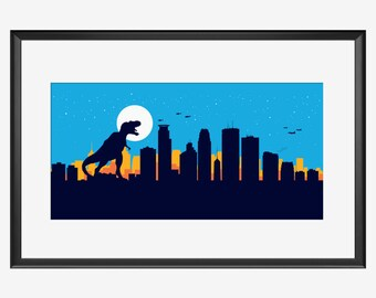 Minneapolis skyline, Minneapolis Minnesota, Minneapolis art, Minneapolis print, Minneapolis poster, Dinosaur print, Dinosaur nursery, T Rex