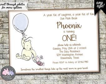 Winnie the Pooh Birthday Invitation, Pooh Bear Birthday Invitation, First Birthday or Second Birthday Pooh Invitation 5x7, Printable Digital