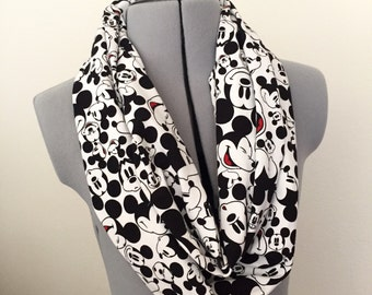 Faces of Mickey Knit Infinity Scarf, Mickey Mouse