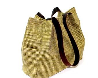 green handbag, green -grey handbag, green tote bag, large bag, women's handbag, green shoulder bag, handbag for work, large green purse