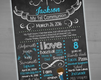 First Communion Chalkboard Sign - Holy Communion - Religious Milestone Sign -Photo Prop -  Printable - 8x10 - 16 x 20