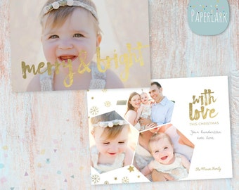 Gold Christmas Card Template - Christmas Photo Card - Photoshop template - AC072 - INSTANT DOWNLOAD