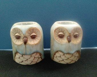 Vintage Owl Candle holder set