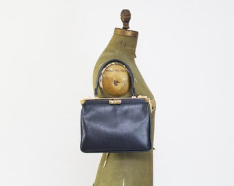 Navy Leather Handbag - Vintage 1960s Leather Purse