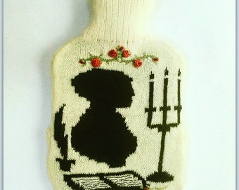 Knitted hot water bottle cover Jane Austen inspired design: bottle included