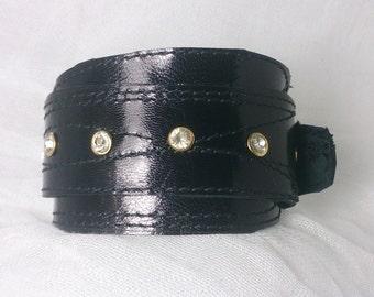 Black Leather Stitched Cuff