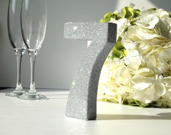 Set of 10 silver glitter table numbers wedding table for Glitter numbers for centerpieces