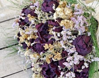 Dried Floral Bridal Bouquet - Cottage Bouquet - Country Wedding Bouquet - Burgundy  Peonies Bouquet