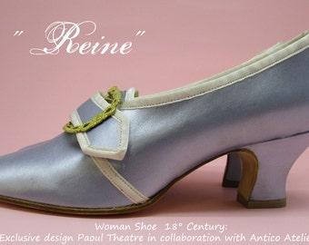 "Mod.738_50T ""Reine"" satin 18 century shoes - - 18 th.- scarpa settecento donna raso- mod."" Reine"", Marie Antoinette style, rococò shoes"