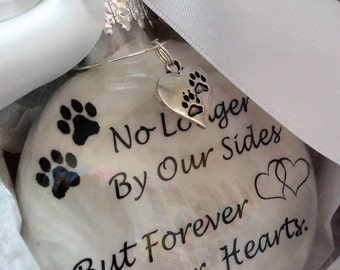 In Memory Pet Memorial Ornament w/ Pwprint Charm -  Dog Cat Memorial Gift - Forever in Our Hearts - Glass Personalized Remembrance Bauble