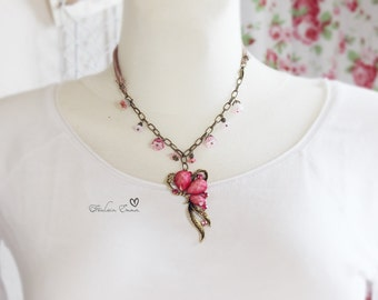 Paradise Butterfly chain silk pink