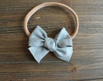 Mini Shabby Chic Grey Chambray Bow