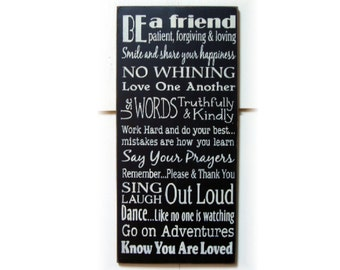 Be A Friend... typography wood sign ready to ship