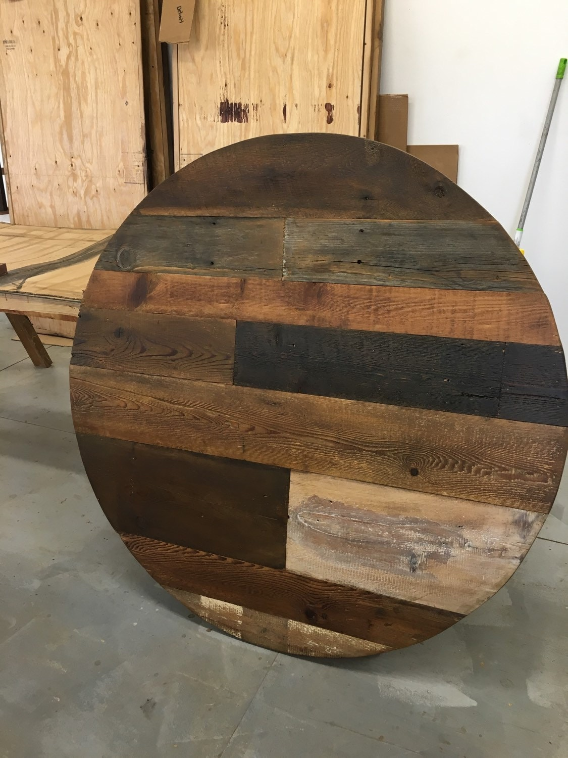Round Dining Table Table Top Wood Variety Reclaimed Wood